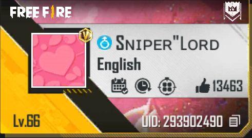 Sniper Lord Free fire id